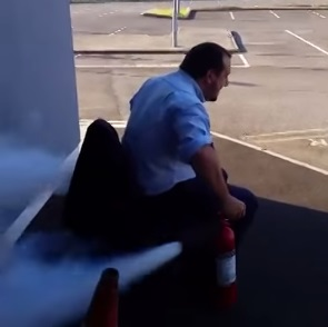 How to ride a chair with two fire extinguishers